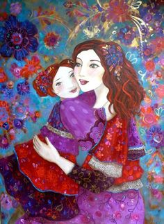 Pass along a hug, see how far it goes. Silk Painting, Woman Painting, Illustrations, Illustration Art, Mystique, Paintings I Love, Mother And Child, Beautiful Artwork, Figurative Art