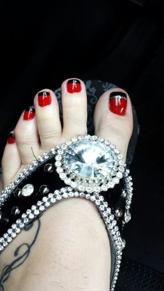 Red Black Toenail Inspiration! If you have a toenail fungus problem, come to Beautiful Toenails in Southfield, MI! Call (248) 945-1000 TODAY to set up an appointment with us or visit our website http://www.toenailfungu.pro to find out more information!