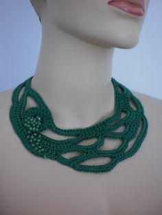 Joyería verde Freeform Crochet collar del ganchillo