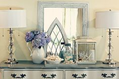 My Summer Vignette - I created a summer vignette using the colors and elements of summer. Shells hydrangeas and sea glass together recreate the feeling of summe…