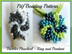 Super Duo Beads Free Patterns | Ring and Pendant Superduo - Twin Beads Pattern