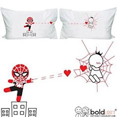 BOLDLOFT Captured By Your Love Couples Pillowcases- Funny Couples Gifts, Valentines Day Gifts for Boyfriend, Spiderman Gifts for Men, Gifts for Couples, His and Hers Gifts,, Superhero Gifts for Men