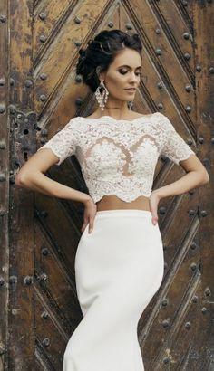 Glamorous two piece scalloped bateau neckline wedding dress; Featured Dress: MillaNova