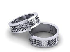 mens wedding band celtic band gold diamond 14k 585 by 3DHeraldry, $837.00