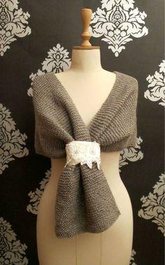 Wedding Shawl Crochet Bridal Wrap  Hand Crocheted Elegant Colorful Sparkles Taupe Brown