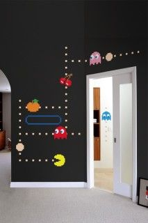 Pacman wall decals! Idk if i'd actually want to do this in my future home, but its a cool idea for a game room. I'd totally do mario themed ;)