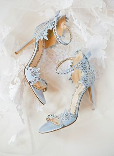 """42 Unique Ideas for Your """"Something Blue"""" Have you decided you want to wear blue shoes? You can't go wrong with icy blue sandals, like this Marchesa pair. Blue Wedding Rings, Wedding Shoes Bride, Wedding Boots, Bride Shoes, Vintage Wedding Shoes, Light Blue Wedding Shoes, Light Blue Heels, Designer Wedding Shoes, Me Too Shoes"""