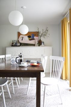 Mandi's Dining Room Before & After.  This site a good  drapery rod idea and how to