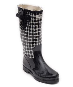 Look at this Forever Young Inc. Black & White Houndstooth Rain Boot on #zulily today!