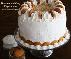 Banana Pudding Layer Cake - A 3 layer cake filled with a decadent and easy to make banana pudding filling. It's over the top!