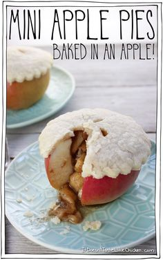 Mini Apple Pies - Baked in an Apple! Filled with sweet, cinnamon packed apple pie filling, topped with flaky crust, all in it's own edible little warm apple shell. Cute dessert for fall, Thanksgiving, Christmas, or a special occasion. Dairy free and vegan. #itdoesnttastelikechicken