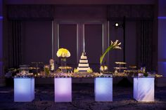 The reception was held in a Ritz Carlton ballroom; dynamic décor and an enviable dessert spread are a few of the inspiration highlights. #modern  Photo byStephen Cheng Photography Styling byMe Events & Design