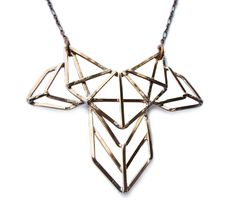 Copper Geometric Necklace Art Deco Revival by jamiespinello