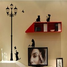 Wall Decal - Lamp Cats and Birds