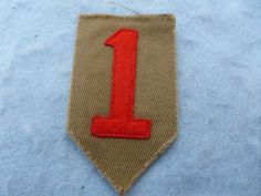 WWI Army Patch 1st Division Big Red One Felt Embroidered on OD Cotton WW1