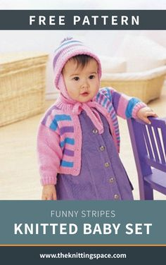 up for the winter season by making this adorable set of knitted striped cardigan with a matching earflap hat for your little one. This easy knitting project makes for a thoughtful knitted gift for a toddler. Knitting For Charity, Knitting For Kids, Free Knitting, Baby Knitting, Beginner Knitting Projects, Knitting Blogs, Knitting For Beginners, Knitting Ideas, Striped Knit