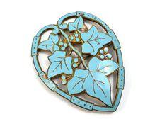 SOLD Vintage Art Deco pale blue enameled brass grape leaves in heart border brooch *** $39 at Pipit Vintage