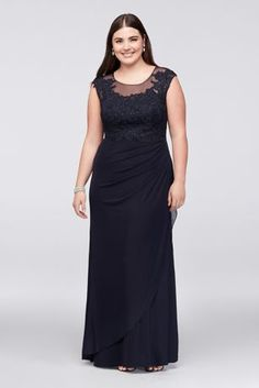 A refined choice for the mother of the bride or groom, this plus-size illusion mesh gown is elegantly detailed with crystal-studded lace appliques and a figure-flattering side-gathered skirt. By Dec