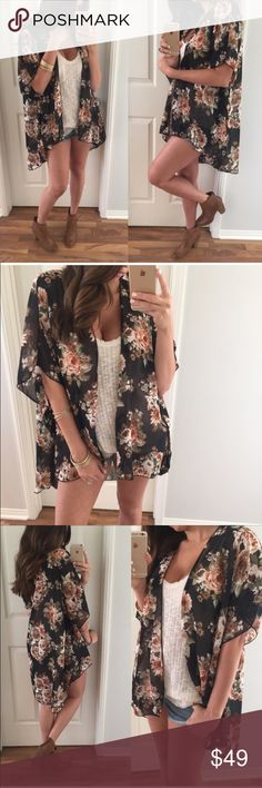 """✨BLACK FLORAL SHEER KIMONO✨ Stunning sheer floral kimono purchased from Mrs Allie's beautiful closet. It can be worn so many ways with all types of bottoms. Open, flowy and meant to hang softly. 100% Poly; 35.5"""" Length. Reposting because I own many kimonos and just haven't worn it. TRADES Tops"""
