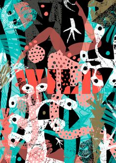 Wild by Esther Cox for Unlimited. One of 40 new prints for FOUR PLAY Collaboration with Unlimited studio 50 x 70cm Limited edition of 100 Signed and numbered Litho print using gold and fluoro 135gsm Heaven 42 stock