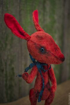 Купить Фантазийный кролик - ярко-красный, кролик тедди, тедди, авторская работа, авторская игрушка