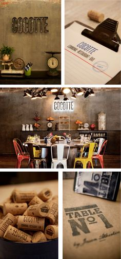 concept and branding of restaurant, Cocotte, in Singapore. love the colorful chairs and lighting.
