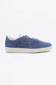 Shop Reebok Club C 85 85 UJ Midnight Blue Trainers at Urban Outfitters today. Mens Shoes Boots, Men's Shoes, Shoe Boots, Cosy Socks, Blue Trainers, Reebok Club C, Liner Socks, Midnight Blue, Clarks