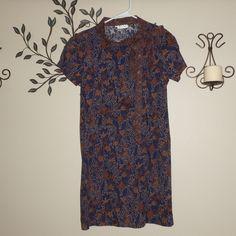Keris Fashion Women's Blue Rust Orange Short Sleeve Pussybow Tie Dress Size M  #KerisFashion #Shift