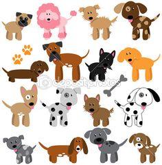 Colección Vector de perros de dibujos animados lindo — Vector de stock #28080557