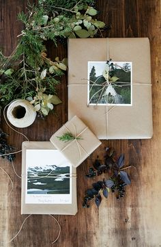 Make it personal! Wrap gifts with photographs, twine and a sprig of greenery.