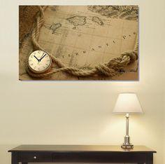 Map Harita Canvas Wall Clock / Kanvas Duvar Saati http://www.tictactasarim.com/K15,modern-tablo-saatler.htm