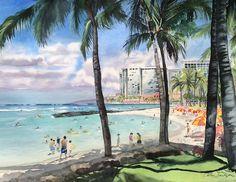 """Our Beach"", original watercolor, by Colleen Sanchez, 22 x Us Beaches, Seascape Paintings, Watercolour Painting, Arts And Crafts, Fine Art, Landscape, The Originals, World, Flowers"