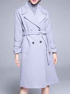 Image of Grey Lapel Tie-Waist Pockets Coat