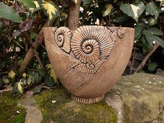 "Pflanztopf ""Ammonit""Gartenkeramik Keramik Handarbe"