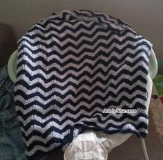 Knitted Chevron Baby or Lap Blanket | Pattern Available | AuntyNise.com