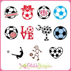 Soccer Monogram Frame Cut Files DFX / SVG / pdf