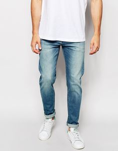 Image 1 of ASOS Stretch Slim Jeans In Mid Wash