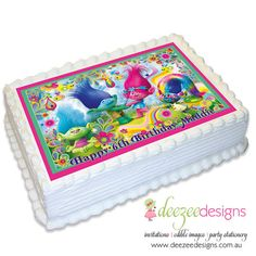 Trolls A4 Edible Icing Cake Topper Birthday Party Troll 4th