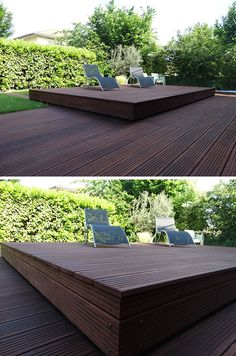 Deck Design Idea – This Raised Wood Deck Is Actually A Sliding Pool Cover Wooden Pool Deck, Wooden Decks, Wood Deck Designs, Hull House, Hidden Pool, Deck Over, Raised Deck, Beautiful Pools, Pool Decks
