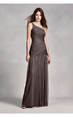 White by Vera Elegant One Shoulder Ruched Long Tulle Bridesmaid Dresses VW360293
