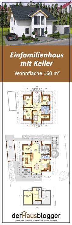 Bei diesem Entwurf über ein ca. 160 m² großes Satteldachhaus waren sich die Bauherren nicht sicher, ob der Bau eines Kellergeschosses oder zumindest eines Teilkellers in ihren sehr eng gesteckten Budgetrahmen passt. Mehr über diesen schönen und durchdachten Hausentwurf erfahren Sie hier. #hausbau #grundriss #massivhaus
