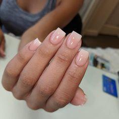 Nails natural acrylic simple colour 49 ideas nails in White Acrylic Nails, Square Acrylic Nails, Best Acrylic Nails, Trendy Nails, Cute Nails, Pink Powder Nails, Gel Overlay Nails, Acrylic Overlay, Gel Nails