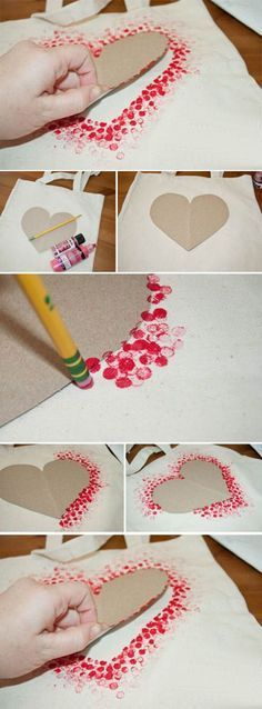 DIY Tote Bag - Make This Fabulous Heart Tote Bag with a Pencil!, DIY Tote Bag - Make This Fabulous Heart Tote Bag with a Pencil! Easy DIY Tote bag from Clumsy Crafter for Valentine& day. Unique Valentines Day Gifts, Valentine Day Crafts, Be My Valentine, Holiday Crafts, Fun Crafts, Diy And Crafts, Paper Crafts, Kids Valentines, Valentines Day Crafts For Preschoolers
