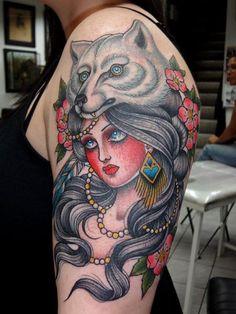 Woman Wolf Tattoos