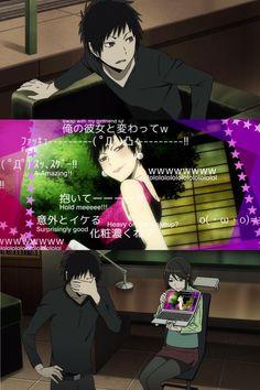 BEST. MOMENT. EVER. When Izaya is the trolled one~~ with a satisfied Namie xD - screenshots from Durarara!!x2 Ketsu oav Izaya Orihara, Shizaya, Durarara, Anime Couples Manga, Cute Anime Couples, Anime Girls, Manado, Anime Funny Moments, Akaashi Keiji