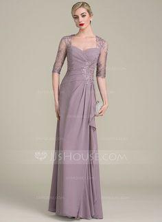 [CHF 156.53] A-Linie/Princess-Linie Schatz Bodenlang Chiffon Lace Kleid für die Brautmutter mit Perlstickerei Pailletten Gestufte Rüschen