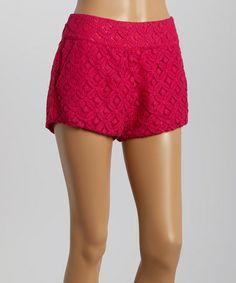 Look what I found on #zulily! Fuchsia Geometric Pointelle Shorts - Women by Love Point #zulilyfinds
