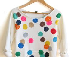 Colorful Confetti Hand STENCILED Deep Scoop Neck by twostringjane This is so cute! I would love one! (I need a Medium)