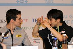 """Funny snapshot from the press conference after the men's free program: Yuzuru Hanyu is """"taking a picture"""" of Javier Fernandez"""