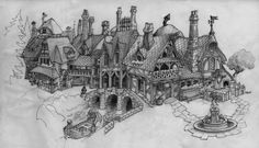 """Concept art for Mickey Ville, a Tokyo Disneyland """"toon town"""" area that was to take ideas from Mickey's medieval cartoons like """"The Brave little tailor"""" or """"Mickey and the Beanstalk""""."""